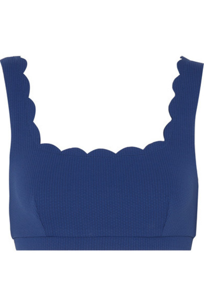bikini bikini top scalloped blue cobalt blue swimwear
