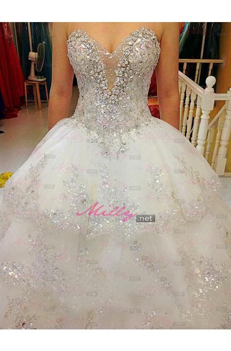 Line tulle sweetheart wedding dress at millybridal.net