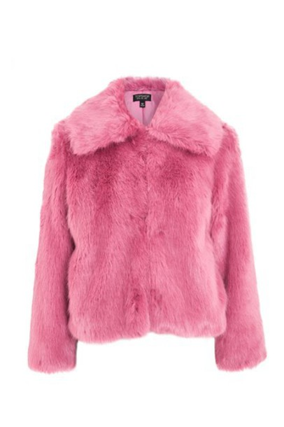 Topshop coat faux fur coat fur coat fur faux fur pink bright