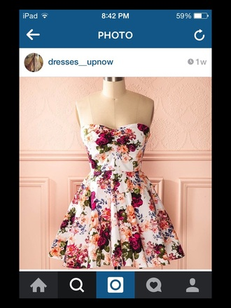 dress floral red orange green strapless dress