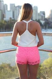 shorts,pink,lace