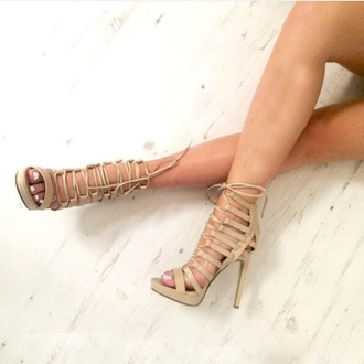 shoes nude shoes high heels high heel sandals ankle strap heels