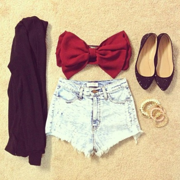 Shorts: bandeau, bows, red bow, sandals, cute, high waisted shorts ...