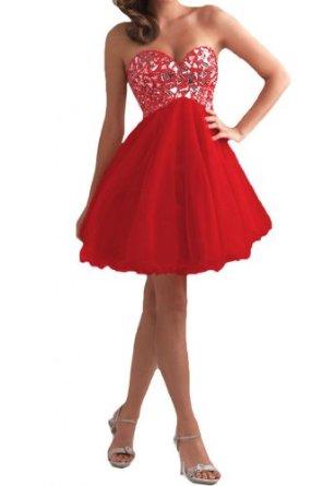 Gorgeous Bride Zaertlich Herzform Empire Tuell Mini KristallCocktailkleid Partykleid Festkleid: Amazon.de: Bekleidung
