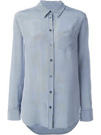 shirt women print blue silk gingham top