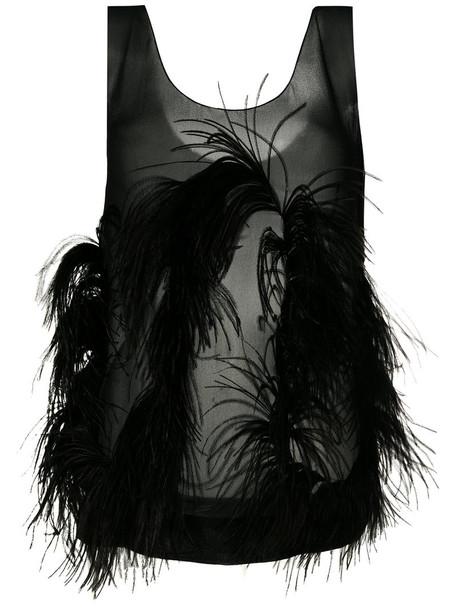 tank top top women embellished black silk