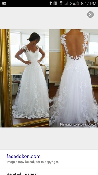 dress white wedding dress open back lace short sleeve