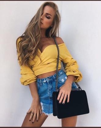 shirt tight shirt off the shoulder yellow top