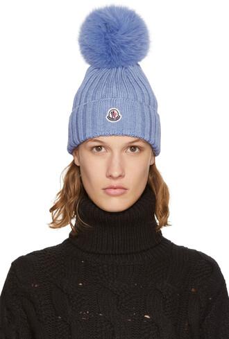 fur beanie pom pom beanie blue hat