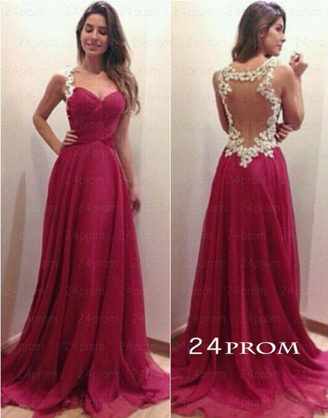 Custom Made A-line Sweetheart Red Chiffon Long Prom Dresses, Evening ...