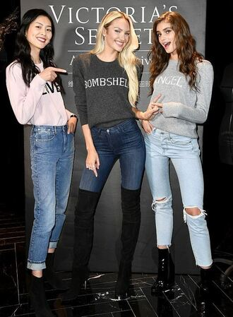 sweater candice swanepoel taylor hill model boots jeans victoria's secret victoria's secret model
