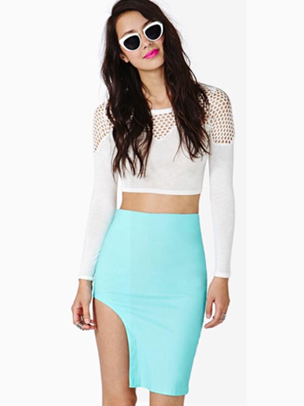 Mint Knit Sexy Asymmetrical Knee Length Skirt : KissChic.com