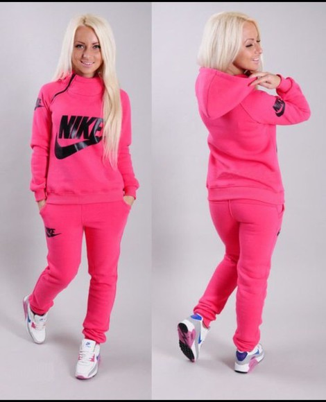 jacket nike zip winter outfits style fashion jumpsuit neon pink tracksuit tracksuit bottoms winter sweater jumper pants sweatpants sportswear collar