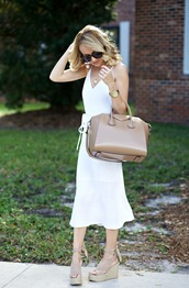 aspoonfulofstyle,blogger,shoes,sunglasses,jewels,dress,blonde hair,tumblr,white dress,midi dress,slit dress,bag,nude bag,sandals,sandal heels,wedges,wedge sandals,slip dress