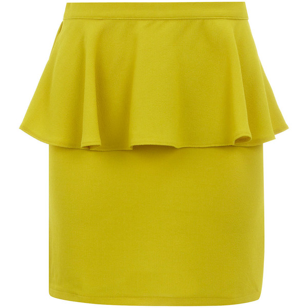 Yellow creped peplum skirt - Dorothy Perkins - Polyvore