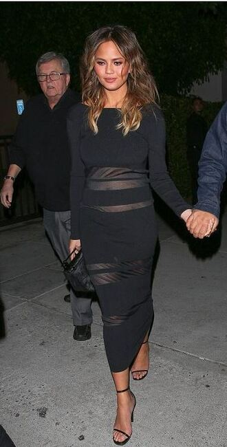 dress midi dress black dress chrissy teigen sandals see through dress mesh