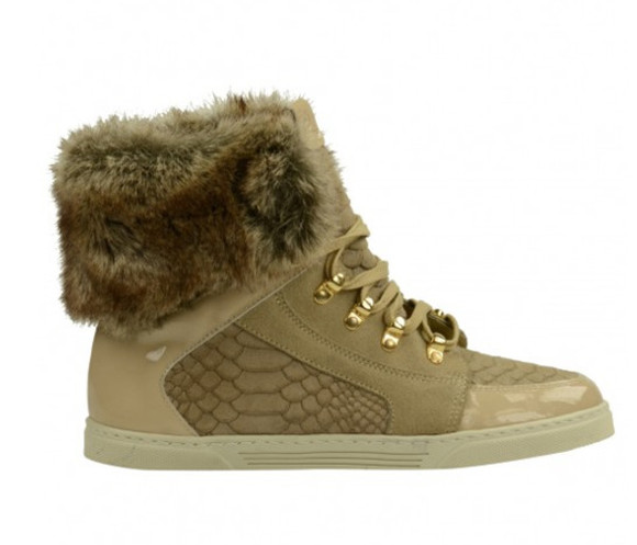 shoes snake snake print gold phyton fur sneaker fur sneaker winter