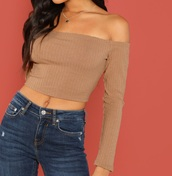 blouse,girly,girl,girly wishlist,off the shoulder,off the shoulder top,brown,crop tops,cropped,crop,long sleeves
