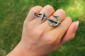 cute jewels anchor ring jewelry cool fashion