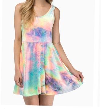 dress tie dye dress tie dye summer dress colorful rainbow multicolor pastel