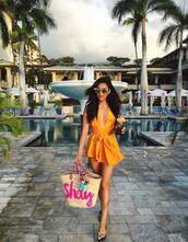 romper,instagram,shay mitchell,flip-flops,sunglasses,purse,summer,summer dress,summer outfits,orange,bag