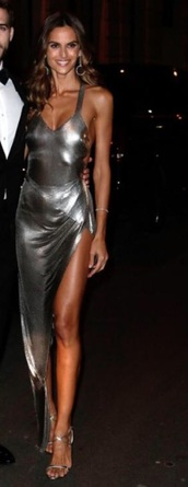 dress,izabel goulart,silver,metallic,deep plunged dress,sexy,tight