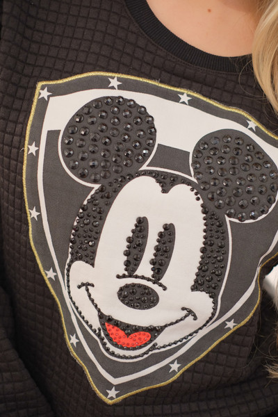 Mickey black quilted crystal embellished sweater – glamzelle