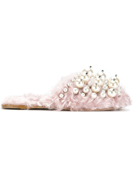 Miu Miu women pearl embellished mohair mules leather cotton purple pink shoes