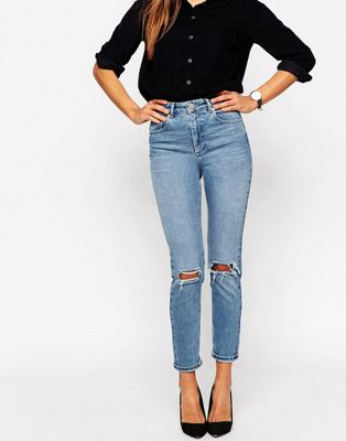 ASOS DESIGN Farleigh high waist slim mom jeans in prince wash with busted knees at asos.com