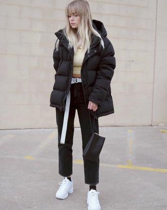 jacket tumblr black jacket puffer jacket top crop tops denim jeans black jeans cropped jeans sneakers white sneakers bag black bag