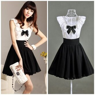 black and white asian loop dress white dress black dress bow dress cute dress cotton china japanese fashion anime