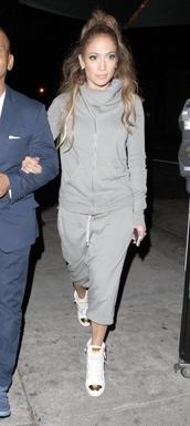 jacket,shoes,pants,sweatpants,jennifer lopez,grey sweatpants,jumpsuit