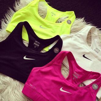 shirt sports bra nike bra neon pink white black yellow cute