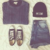 sweater,jumper,beanie,black beanie,awesone,converse,black,dark blue sweater,shorts,demin,combo,hat