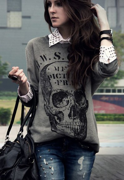 skull blouse graphic studs collared shirts
