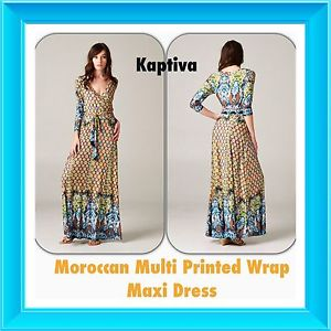 New!! Moroccan Multi Printed Wrap Maxi Dress - NWT