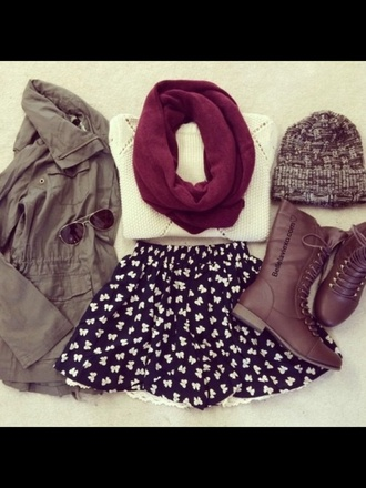 black skirt boots infinity scarf army green jacket