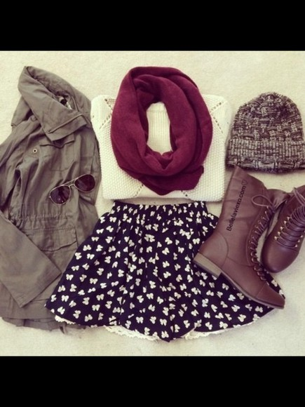 black skirt infinity scarf army green jacket boots