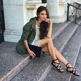 dress angl ootn ootd lookbook strappy sandals olive green camouflage army green clutch stripes amazing fashion style grunge chic sexy promo code sale new