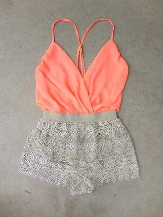 jumpsuit romper crop tops tank top shorts style fashion outfit summer top summer shorts lace romper lace shorts