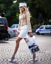 jacket,fluffy,blazer,mini skirt,transparent,boots,transparent  bag,fisherman cap