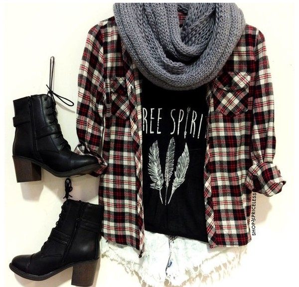 cardigan free spirit feathers black boots flannel shirt scarf