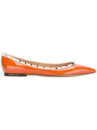 women leather yellow orange shoes