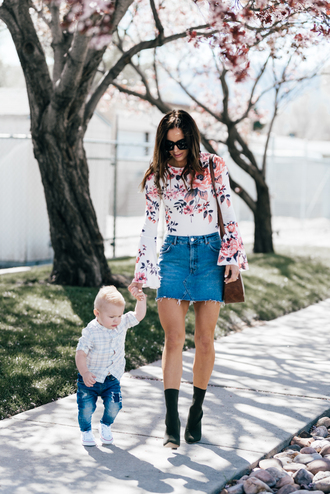 skirt denim skirt mini skirt blouse printed blouse bell sleeves sock boots shoulder bag bloggr blogger style