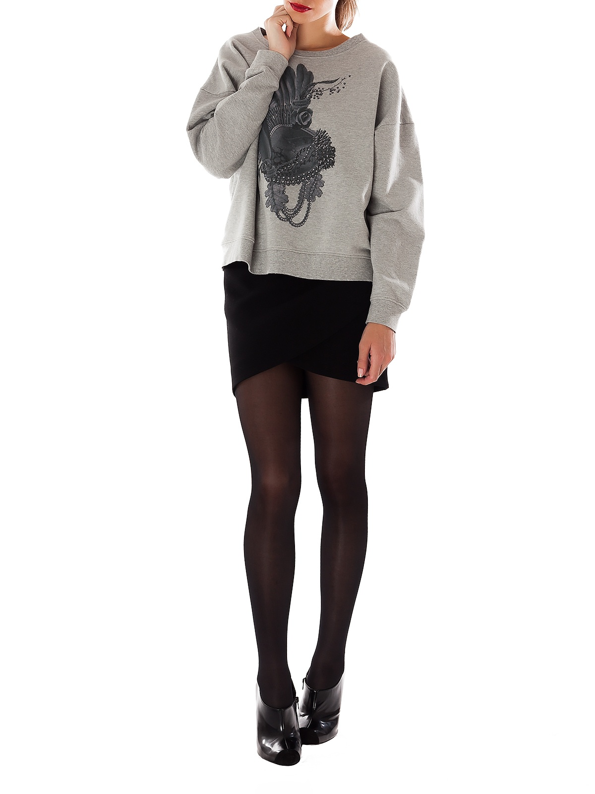 CAT ROMAN GREY KNIT SWEATER | GIRISSIMA.COM - Collectible fashion to love and to last