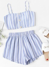 romper,girly,girl,girly wishlist,blue,white,stripes,striped top,two-piece,matching set,matching shorts and top,crop tops,cropped,crop,button up,shorts,short,summer,summer top,summer outfits,cute
