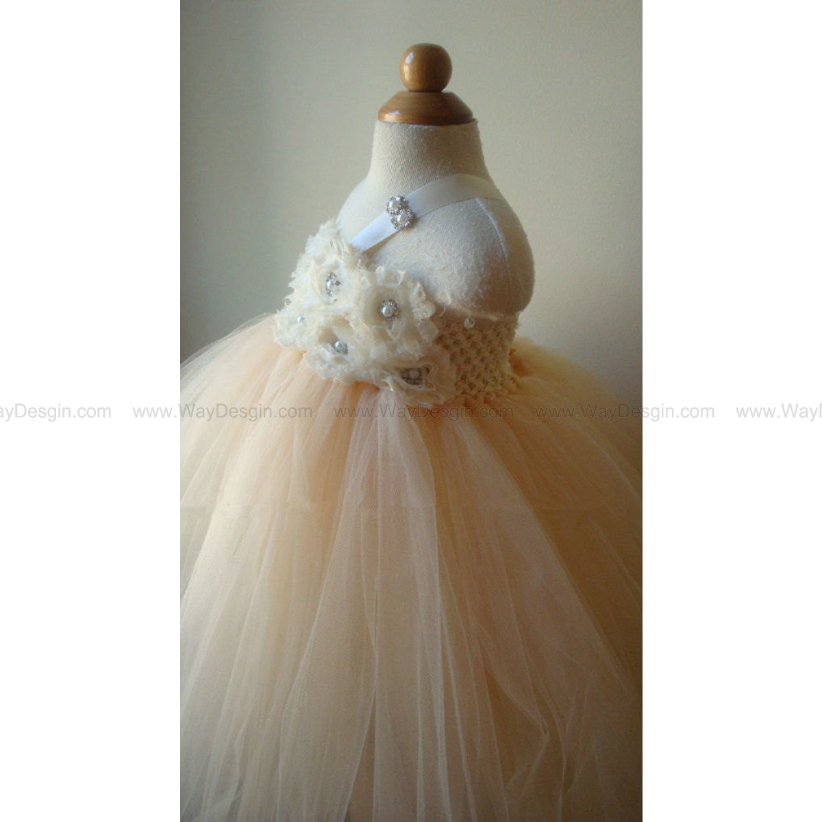Flower girl dress tutu dress champagne, ivory chiffton roses, baby tutu dress, toddler tutu dress,newborn
