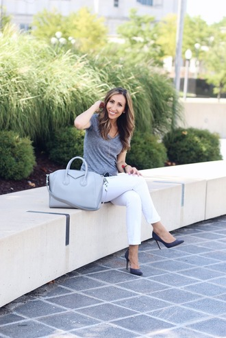 lilly's style blogger jeans t-shirt shoes bag jewels make-up white jeans casual nordstrom madewell givenchy bag grey t-shirt pumps blue pumps high heel pumps grey bag givenchy