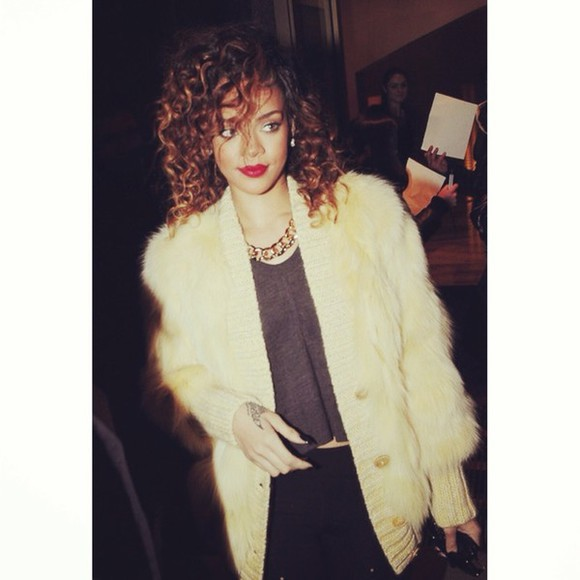jacket rihanna cardigan faux fur jacket fur crop tops