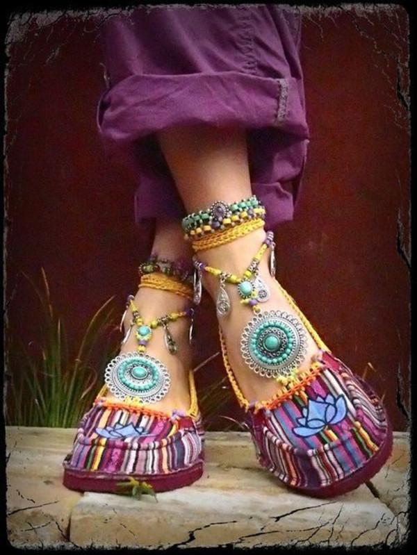 bogo colorful shoes jewels stripes pattern yellow purple shoes shoes